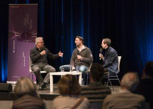 Gespräch mit Christoph Prégardien, Christoph Schnackertz und Andreas Göbel (vlnr)